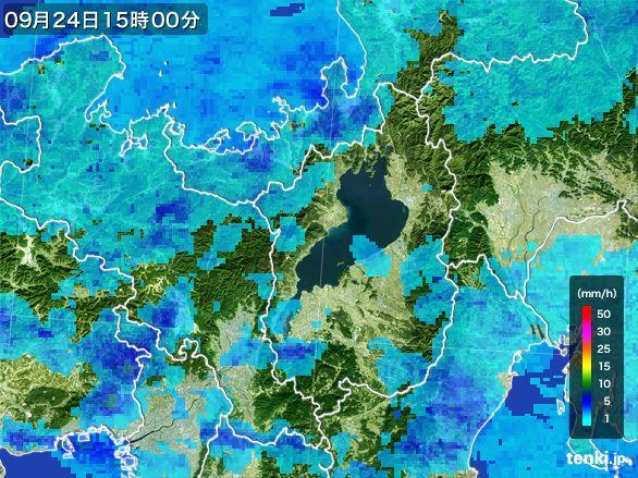 滋賀県の雨雲レーダー(2015年09月24日)