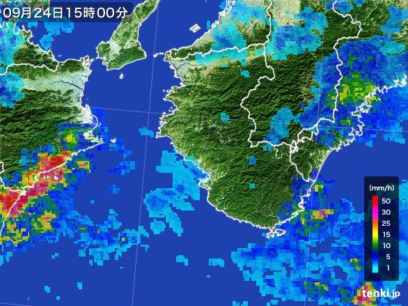 和歌山県の雨雲レーダー(2015年09月24日)