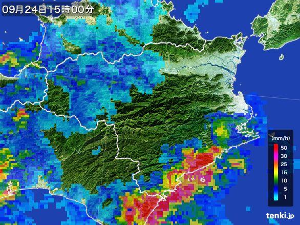 徳島県の雨雲レーダー(2015年09月24日)