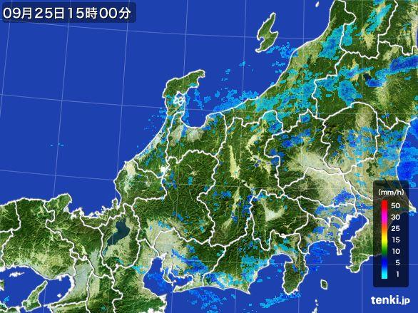 北陸地方の雨雲レーダー(2015年09月25日)