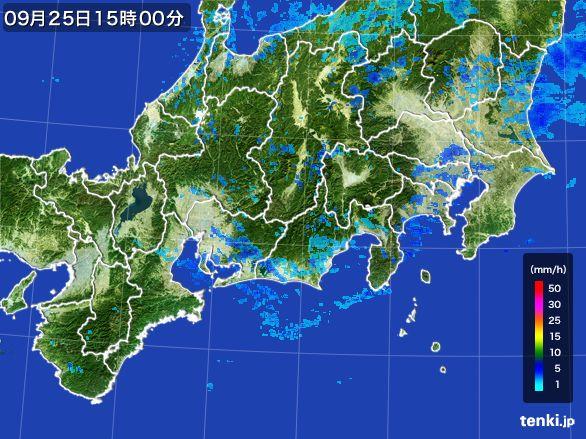 東海地方の雨雲レーダー(2015年09月25日)