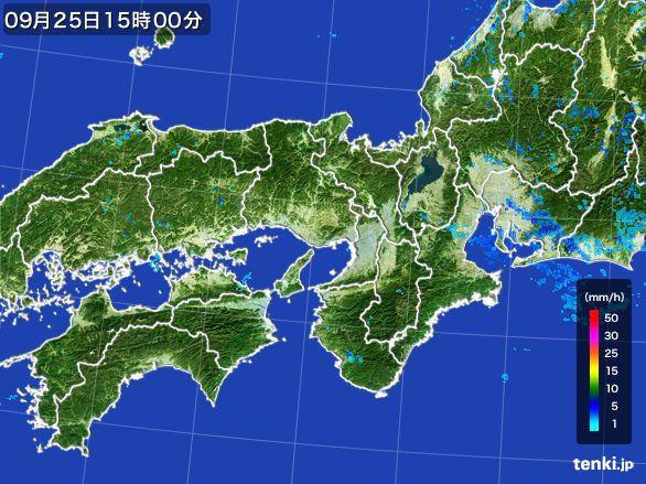 近畿地方の雨雲レーダー(2015年09月25日)