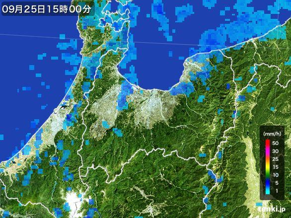 富山県の雨雲レーダー(2015年09月25日)
