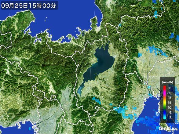 滋賀県の雨雲レーダー(2015年09月25日)