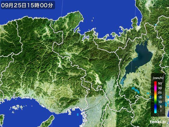 京都府の雨雲レーダー(2015年09月25日)