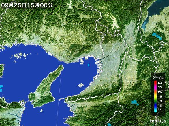 大阪府の雨雲レーダー(2015年09月25日)