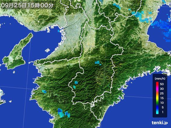 奈良県の雨雲レーダー(2015年09月25日)