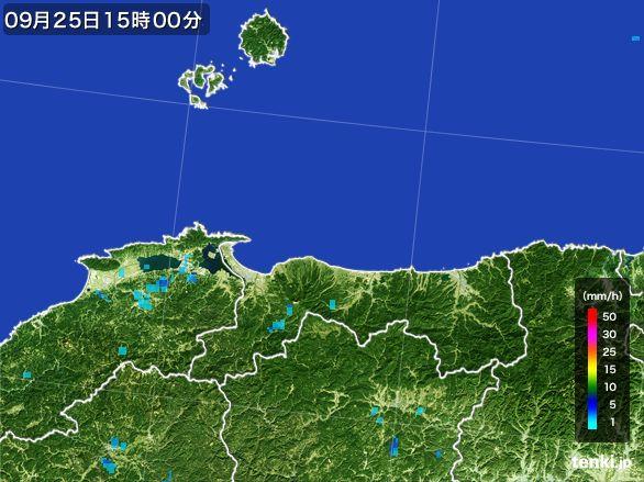 鳥取県の雨雲レーダー(2015年09月25日)