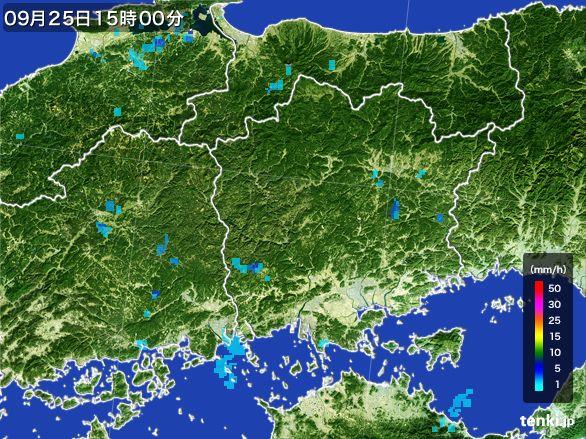 岡山県の雨雲レーダー(2015年09月25日)