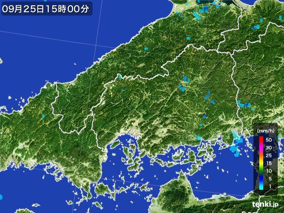 広島県の雨雲レーダー(2015年09月25日)