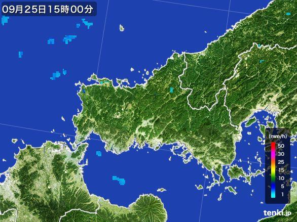 山口県の雨雲レーダー(2015年09月25日)
