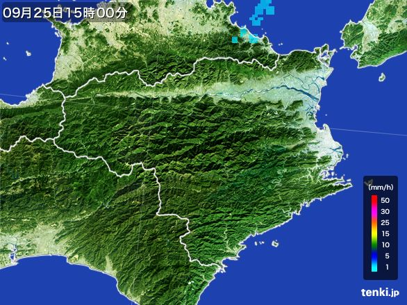 徳島県の雨雲レーダー(2015年09月25日)