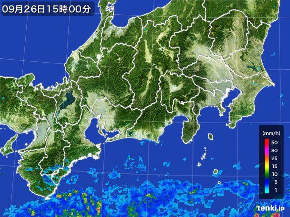 東海地方の雨雲レーダー(2015年09月26日)