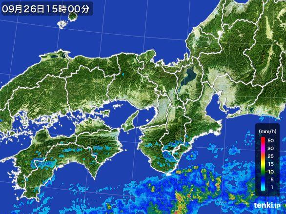 近畿地方の雨雲レーダー(2015年09月26日)