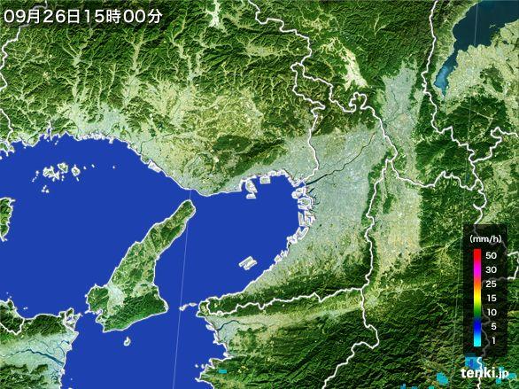 大阪府の雨雲レーダー(2015年09月26日)