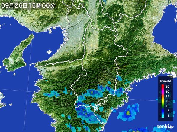 奈良県の雨雲レーダー(2015年09月26日)