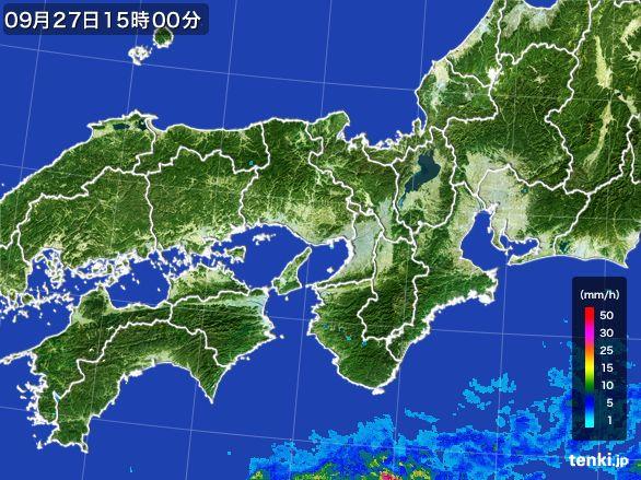 近畿地方の雨雲レーダー(2015年09月27日)