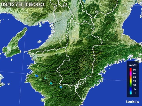 奈良県の雨雲レーダー(2015年09月27日)