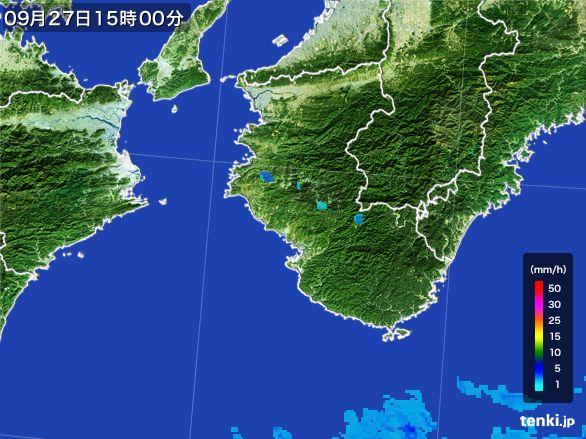 和歌山県の雨雲レーダー(2015年09月27日)