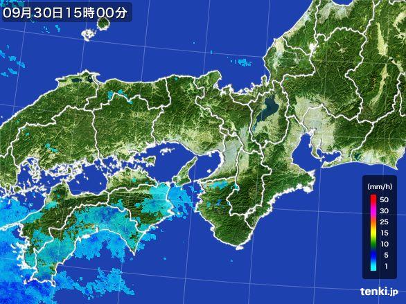 近畿地方の雨雲レーダー(2015年09月30日)