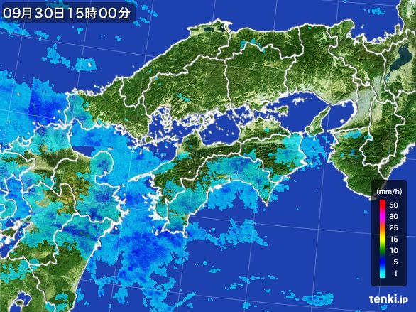 四国地方の雨雲レーダー(2015年09月30日)
