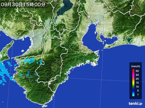 三重県の雨雲レーダー(2015年09月30日)
