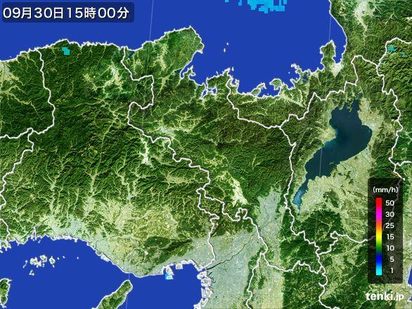 京都府の雨雲レーダー(2015年09月30日)
