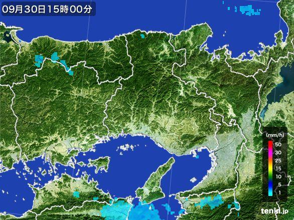 兵庫県の雨雲レーダー(2015年09月30日)