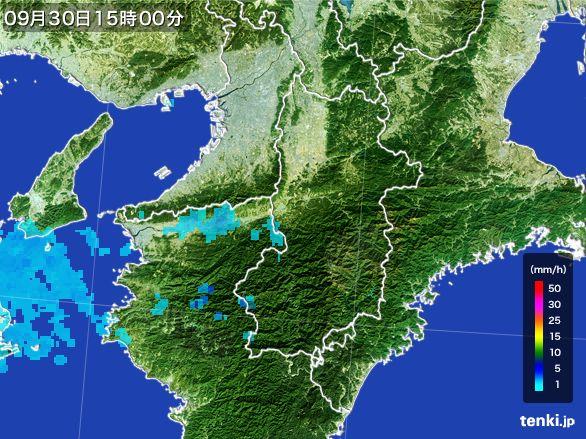 奈良県の雨雲レーダー(2015年09月30日)