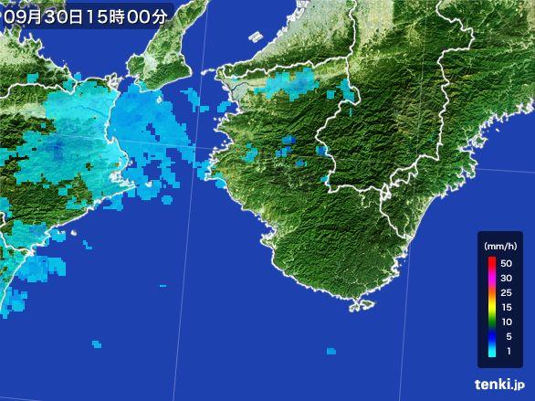 和歌山県の雨雲レーダー(2015年09月30日)