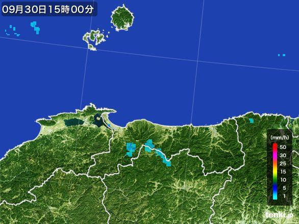 鳥取県の雨雲レーダー(2015年09月30日)