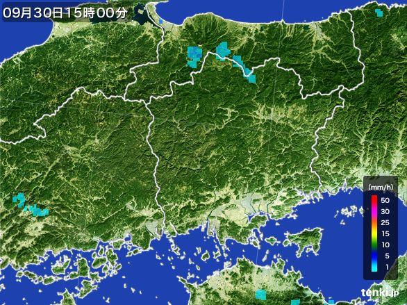 岡山県の雨雲レーダー(2015年09月30日)