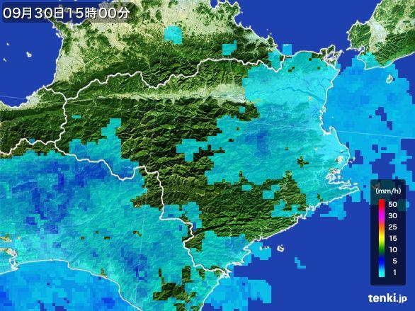 徳島県の雨雲レーダー(2015年09月30日)