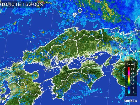 中国地方の雨雲レーダー(2015年10月01日)
