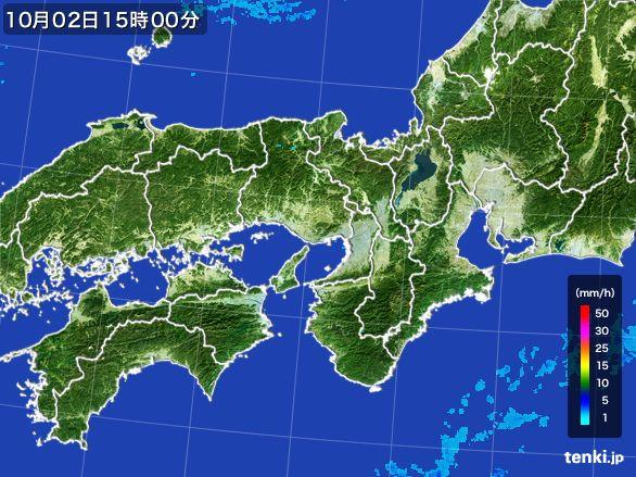近畿地方の雨雲レーダー(2015年10月02日)
