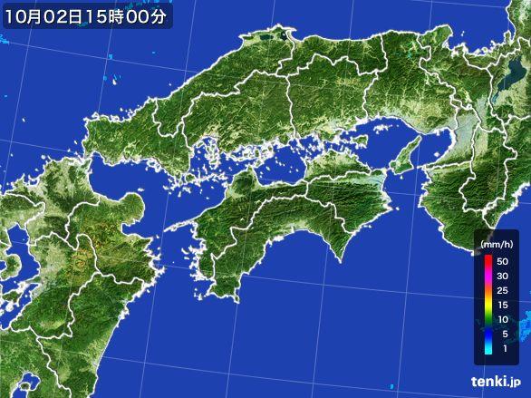 四国地方の雨雲レーダー(2015年10月02日)