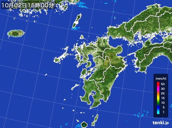 九州地方の雨雲レーダー(2015年10月02日)