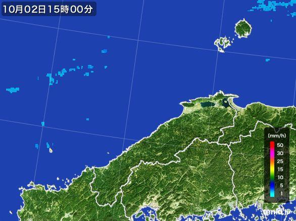島根県の雨雲レーダー(2015年10月02日)