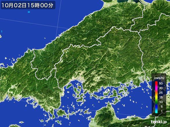 広島県の雨雲レーダー(2015年10月02日)