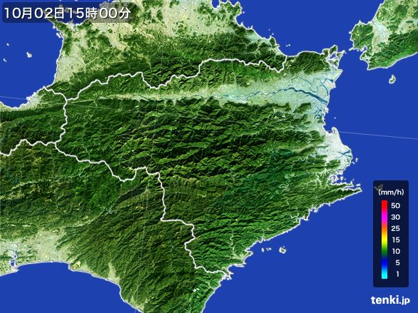 徳島県の雨雲レーダー(2015年10月02日)