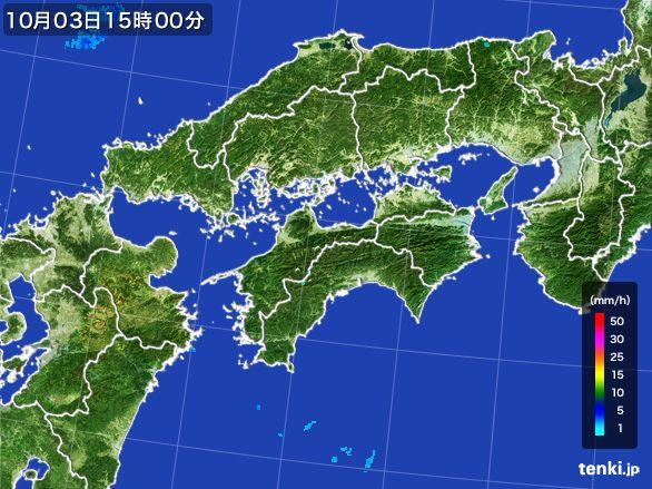 四国地方の雨雲レーダー(2015年10月03日)