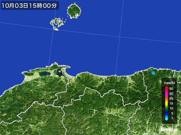 鳥取県の雨雲レーダー(2015年10月03日)