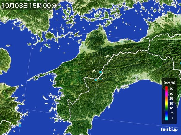愛媛県の雨雲レーダー(2015年10月03日)