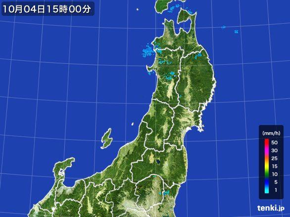 東北地方の雨雲レーダー(2015年10月04日)
