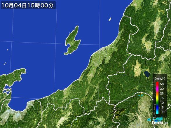 新潟県の雨雲レーダー(2015年10月04日)