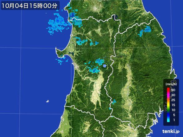 秋田県の雨雲レーダー(2015年10月04日)