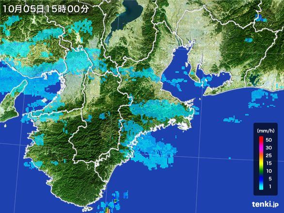 三重県の雨雲レーダー(2015年10月05日)