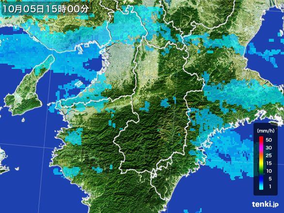 奈良県の雨雲レーダー(2015年10月05日)
