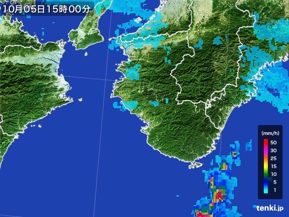 和歌山県の雨雲レーダー(2015年10月05日)
