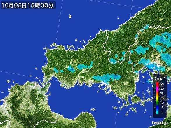 山口県の雨雲レーダー(2015年10月05日)